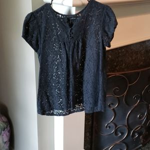Black Lace Capped Sleeved Babydoll Top